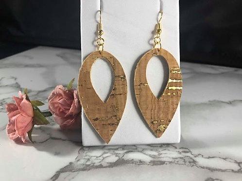 Double Sided Cork/Gold Teardrop Cut-out Faux Leather Earrings