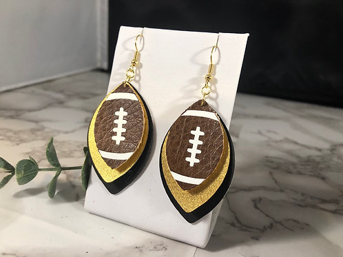 Team Colors Faux Leather Football Earrings