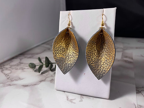 Gray & Gold Ombre Painted Pinched Petal Earrings