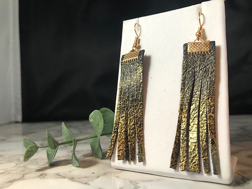 Recycled Black Genuine Leather & Gold Handpainted Fringe Earrings