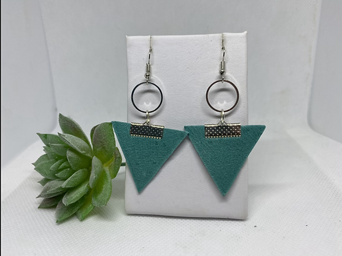 Light Teal Genuine Leather Triangle & Silver Circle Earrings