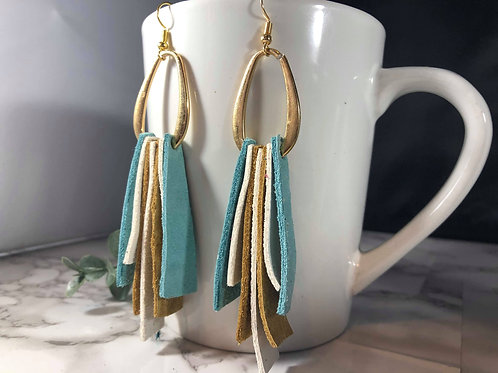 Gold Metal, Turquoise, Camel, & White Genuine Leather Shoulder Duster Earrings