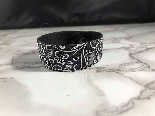 Black & Silver Swirl Faux Leather Cuff Bracelet