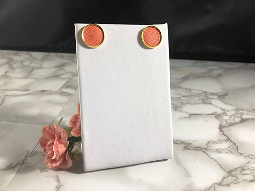 Salmon/Coral Faux Leather Stud Earrings
