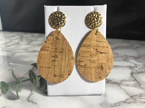 Cork & Metallic Gold Faux Leather Earrings with Gold Metal Circle Posts