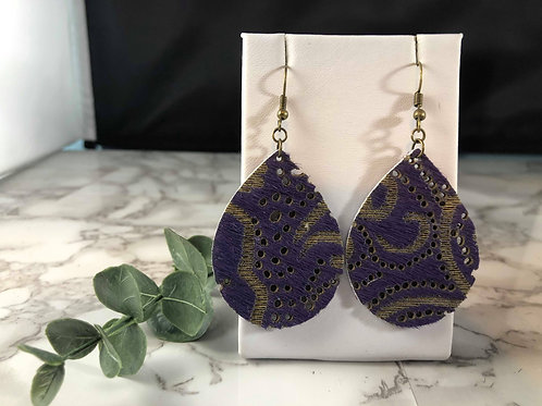 Purple & Khaki Hair-on Genuine Leather Teardrop Earrings