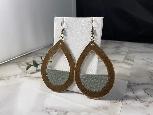 Medium Brown & Bluish Gray Genuine Leather Cut Out Earrings