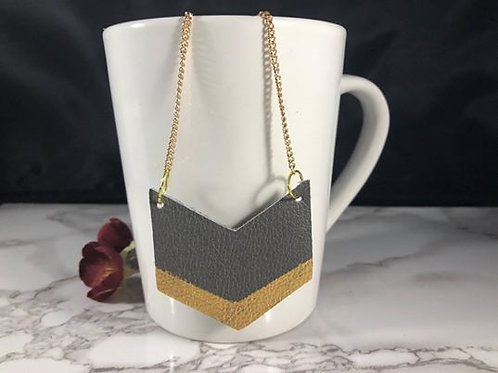 Hand Painted Metallic Gold & Gray Leather Chevron Pendant Necklace