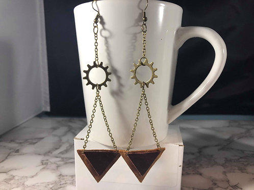 Maroon, Whiskey Brown & Bronze Steampunk Recycled Leather Earrings