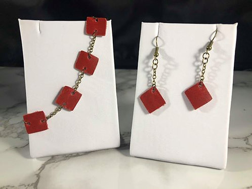 Bright Red Genuine Leather Squares Necklace and Earring Set
