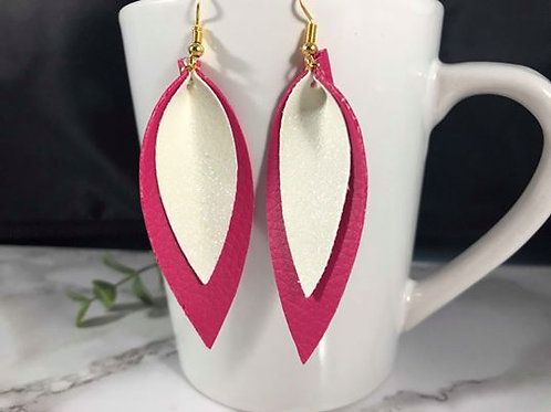 Two Sided Hot Pink/Fuchsia and White Glitter Pinched Petal Faux Leather Earrings