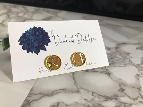 Cork & Gold Faux Leather Studs