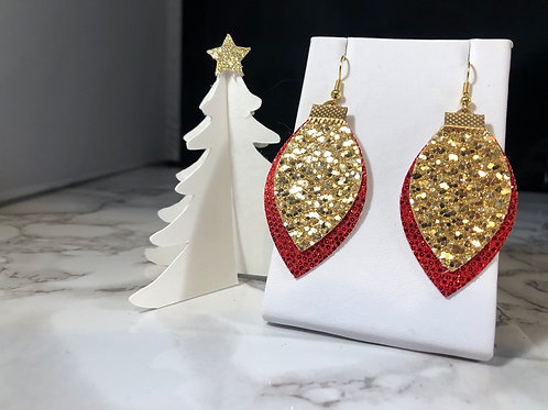 Red & Gold Glitter Christmas Light Faux Leather Earrings