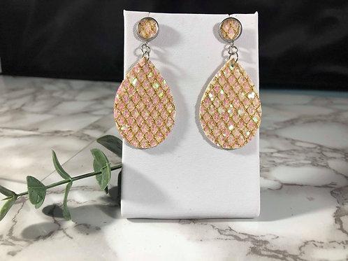 Iridescent Pale Pink Diamond Glitter Teardrop Faux Leather Double Sided Earrings