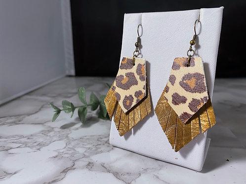 Leopard Print & Bronze Genuine Leather Fringe Earrings