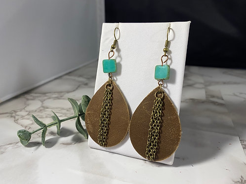 Medium Brown Genuine Leather Earrings with Turquoise Bead & Bronze Chain