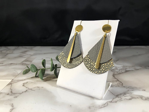 Gray & Matte Gold Pebbled Genuine Leather Cake Slice Earrings