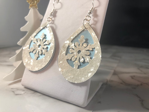 White Snow Glitter & Frosted Metallic Blue Faux Leather Snowflake Earrings