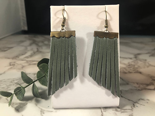 Blue-Gray Genuine Leather Fringe Earrings