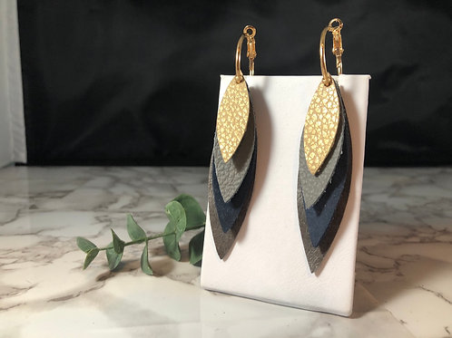 Gold, Gray & Navy Genuine Leather Feather Hoop Earrings