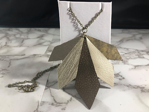 Multi-Colored Genuine Leather Neutral/MetallicTriangles Necklace