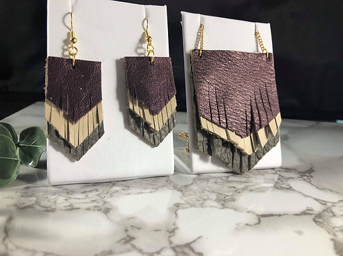 Upcycled/Recycled Genuine Leather Fringe Necklace & Earring Set