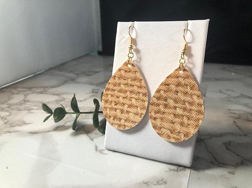 Burlap Printed Faux Leather Teardrop Earrings
