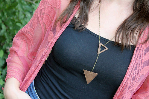 Brown Genuine Leather Triangle Necklace