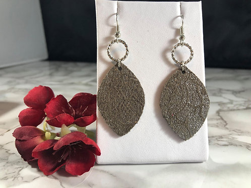 Gray & Silver Recycled Genuine Suede/Leather Earrings with Silver Metal Details