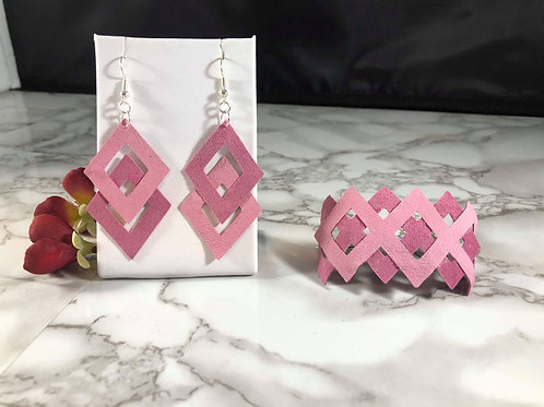 Blush Pink Cut-out Recycled Genuine Suede Bracelet & Earring Set