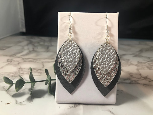 Matte Silver, Silver Glitter & Charcoal Gray Faux Leather Earrings