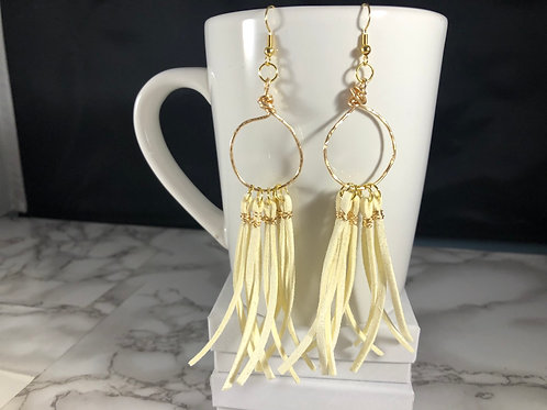 Hand Wrapper & Hammered Gold Metal & Ivory Suede Tassel Earrings