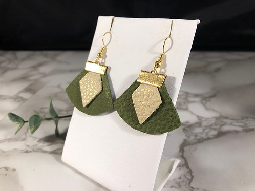 Forest Green & Ivory and Matte Gold Genuine Leather Earrings