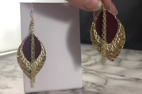 Merlot & Gold 3 Tiered Faux Leather Earrings with Chain Detail