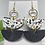Thumbnail: Double Semi-Circle Painted Pattern Genuine Leather Earrings