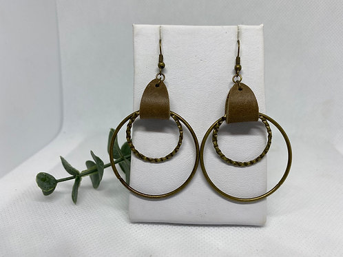 Neutral Brown Genuine Leather with Bronze Metal Double Circle Earrings
