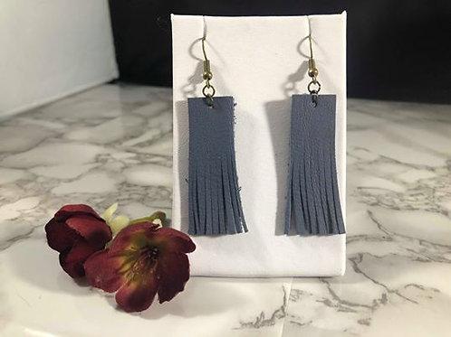 Slate Blue Recycled Genuine Leather Fringe Rectangle Earrings