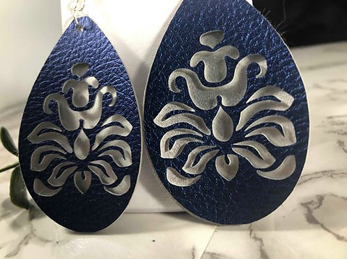 Metallic Sapphire Blue & Silver Cut-Out Lace Faux Leather Earrings