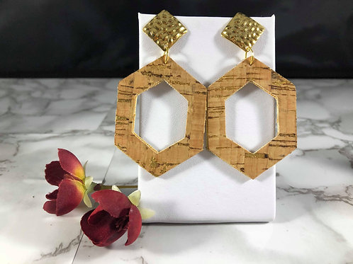 Cork & Gold Cut-out Faux Leather Earrings with Gold Metal Post
