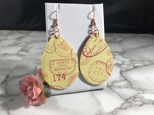 Recycled Yellow & Pink Travel Stamp Faux Leather Double Sided Teardrop Earrings