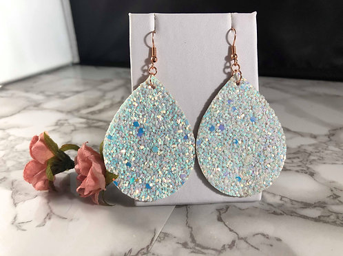 Iridescent Ice Blue Chunky Glitter with Metallic Rose Gold Faux Leather Earrings