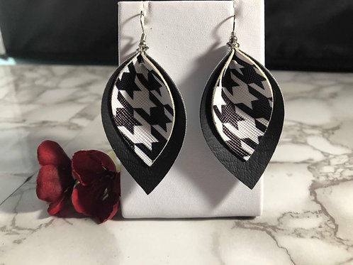 Black & White Houndstooth Pinched Petal 2 Layer Faux Leather Earrings