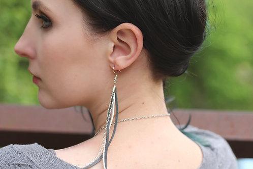 Gray, White & Chain Straight Shoulder Duster Earrings