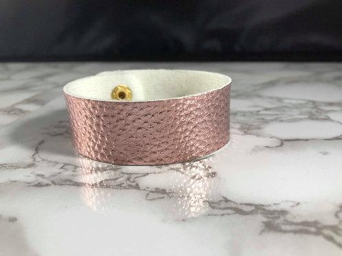Metallic Pebbled Rose Gold/Light Pink Faux Leather Cuff Bracelet