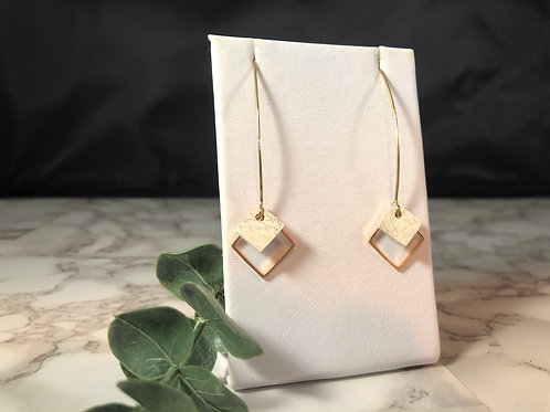 White Genuine Leather & Gold Metal Drop Square Earrings