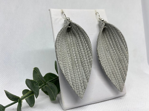 Palm Textured Gray Genuine Leather Earrings