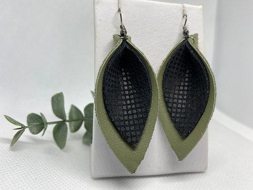 Olive Green & Black on Black Textured Genuine Leather Earrings
