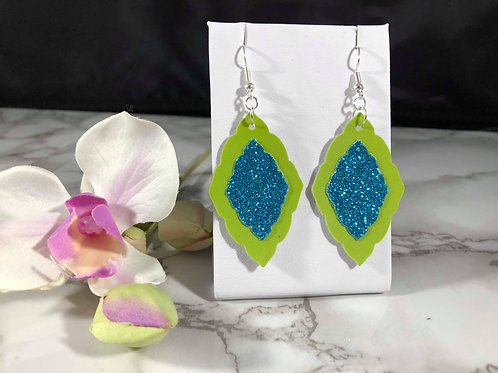 Lime Green & Teal Blue Glitter Faux Leather Fancy Diamond Shaped Earrings