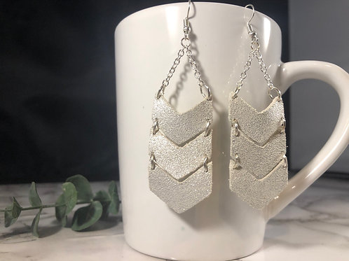White & Sparkly Light Silver Genuine Leather Chevron Earrings
