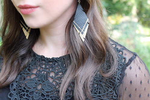 Hand Painted Black Recycled Genuine Leather Earrings